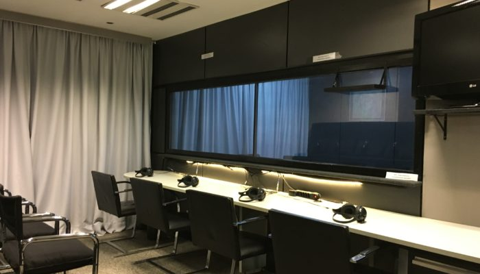 One way mirror in a FocusVision equip interview suite in central Sao Paulo Brazil